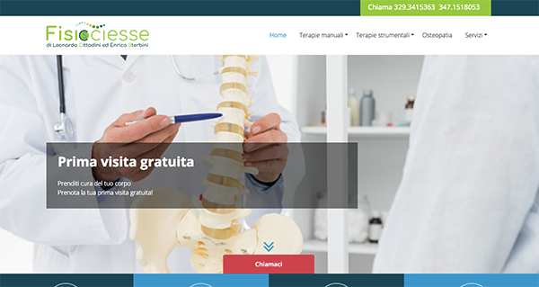 A screenshot of the website www.fisiociesse.it